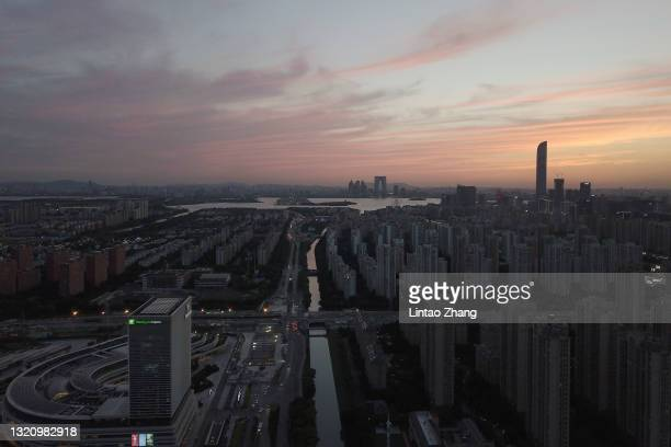 General view the skyline of the Suzhou city central during sunset on May 31, 2021 in Suzhou, China.