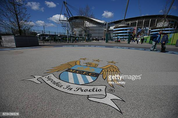 A general view the stadium prior to the Barclays Premier League match between Manchester City and Stoke City at Etihad Stadium on April 23 2016 in...