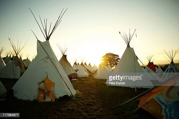 A general view the tipis on the festival site during the third day of Glastonbury Festival 2011 at Worthy Farm on June 25 2011 in Glastonbury United...