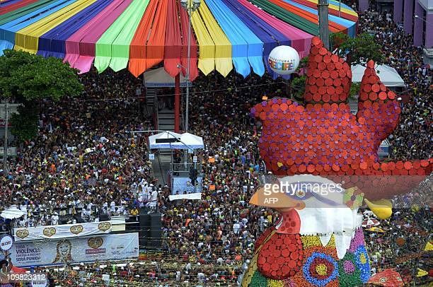 General view the traditional parade of the carnival band Galo da Madrugada on the first day of Recife's Carnival in the northeastern state of...
