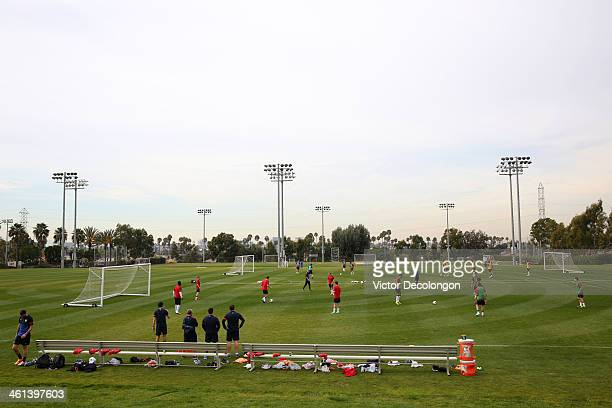 A general view the US Men's National Soccer team training at StubHub Center on January 7 2014 in Los Angeles California