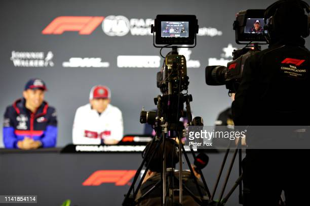 A general view through a TV camera of the Drivers Press Conference with Alexander Albon of Thailand and Scuderia Toro Rosso Kimi Raikkonen of Finland...