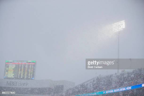 General view through heavy snowfall during the second quarter of the game between the Buffalo Bills and the Indianapolis Colts at New Era Field on...