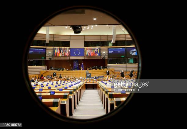 General view through the door of the hemicycle ahead of a debate on the future of the relation between the EU and UK at a plenary session of the...
