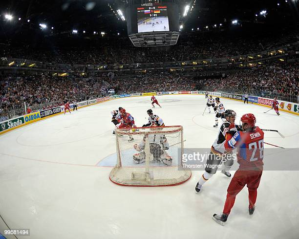 General view to the Arena pictured during the IIHF World Championship qualification round match between Russia and Germany at Lanxess Arena on May...