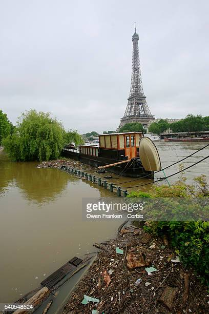 A general view towards the Eiffel Tower along the now gradually receding rainswollen River Seine in Paris after the waters reached the highest levels...