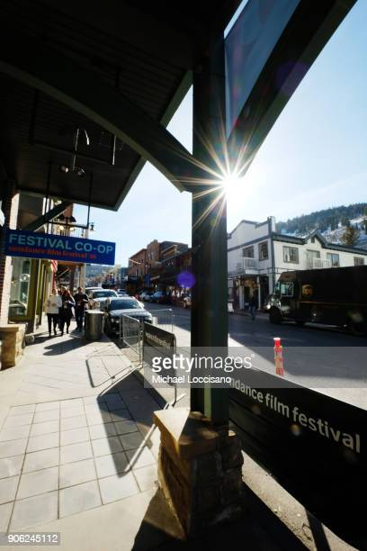 A general view up Main Street as Park City prepares for the 2018 Sundance Film Festival on January 17 2018 in Park City Utah