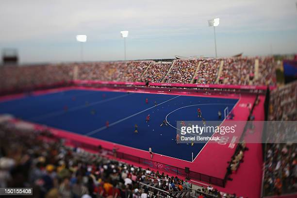 A general view while Australia plays against Great Britain during the Men's Hockey bronze medal match on Day 15 of the London 2012 Olympic Games at...