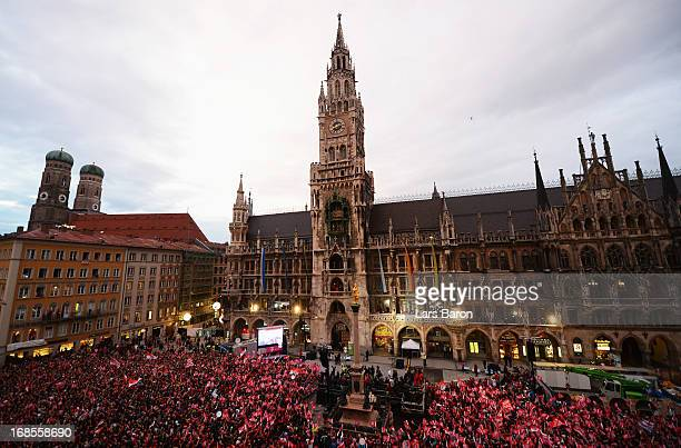 A general view while fans await their team to celebrate the German championship title on the town hall balcony at Marienplatz on May 11 2013 in...