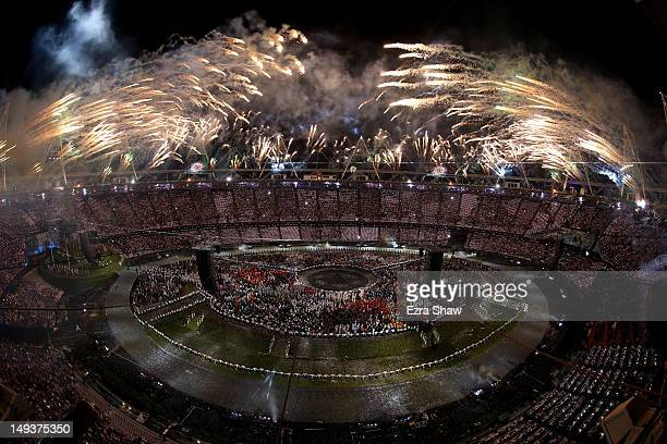 A general view while fireworks explode from the stadium roof during the Opening Ceremony of the London 2012 Olympic Games at the Olympic Stadium on...