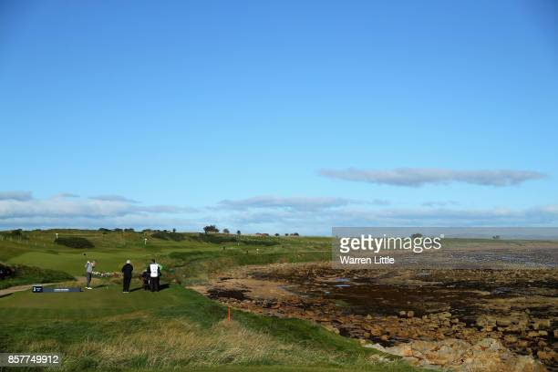A general view whilst Michael Bunker tees off on the 3rd during day one of the 2017 Alfred Dunhill Championship at Kingsbarns on October 5 2017 in St...