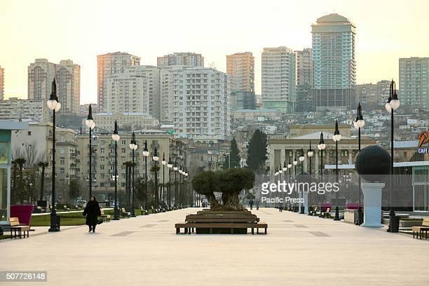SOVETSKAYA BAKU AZERBAIJAN General view Winter Bulevard in Baku