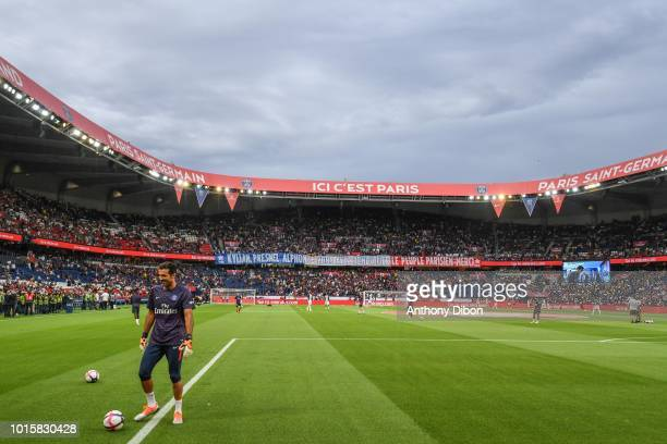 General view with a baneer for Kylian Mbappe Presnel Kimpembe and Alphonse Areola PSG world champions during the French Ligue 1 match between Paris...