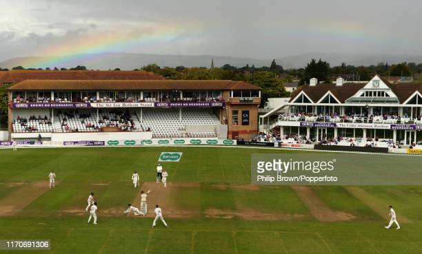 General view with a rainbow visible during the second day of the County Championship Division One match between Somerset and Essex on September 24,...