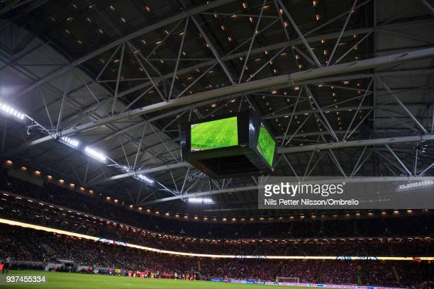 General view with closed roof during the International Friendly match between Sweden and Chile at Friends arena on March 24 2018 in Solna Sweden