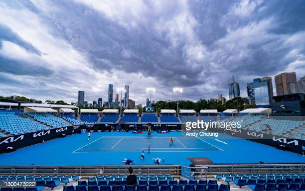 General view with dark clouds overhang Show Court 1573 during singles match between Daniel Evans of Great Britain and Borna Coric of Croatia during...