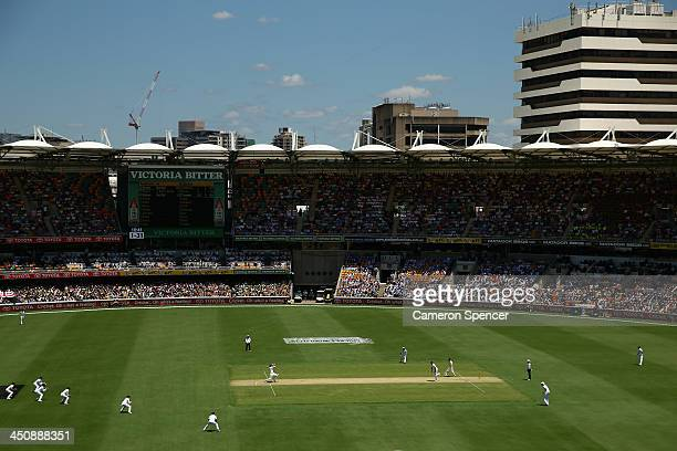 A general view with David Warner of Australia batting during day one of the First Ashes Test match between Australia and England at The Gabba on...