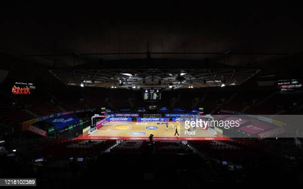 General view with empty stands during the EasyCredit Basketball Bundesliga match between Fraport Skyliners and Alba Berlin at Audi Dome on June 7,...
