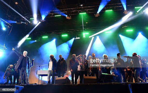 General view with Herbert Groenemeyer during the WIR open air at Koenigsplatz on October 11 2015 in Munich Germany This free music festival is...
