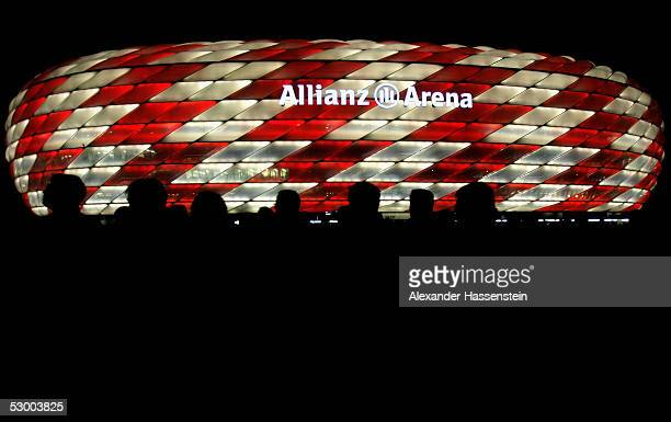 A general view with light illumintaion of the Allianz Arena during the opening game of the Allianz Arena between Bayern Munich and German Football...