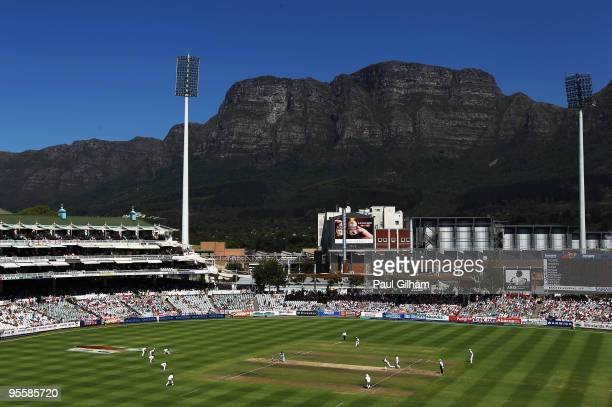 General view with Matt Prior and Graeme Swann of England batting against South Africa during day three of the third test match between South Africa...