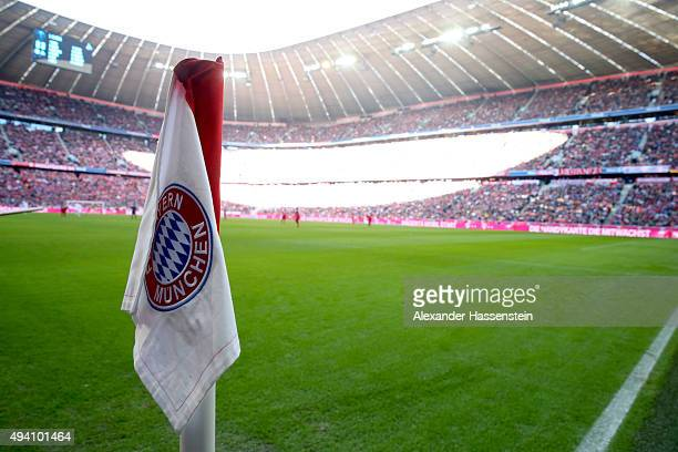 General view with the corner flag during the Bundesliga match between FC Bayern Muenchen and 1 FC Koeln at Allianz Arena on October 24 2015 in Munich...