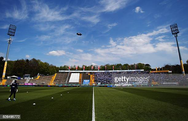 A general view with the empty guest block prior to the Bundesliga match between SV Darmstadt 98 and Eintracht Frankfurt at MerckStadion am...