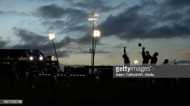 A general view with the lights on in the last quarter during the 2018 AFL round 19 match between the Western Bulldogs and the Port Adelaide Power at...