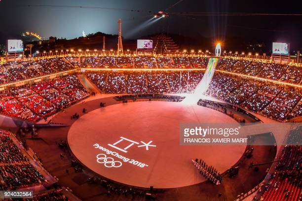 General view with the logo of Pyeongchang projected on the stage during the closing ceremony of the Pyeongchang 2018 Winter Olympic Games at the...