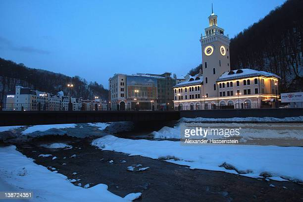 General view with the main station of Rosa Khutor Alpine Resort in the western Caucasian mountains near Krasnaya Polyana some 50 km outside of the...