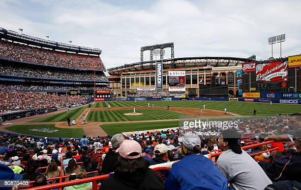 A general view with the Mets' new home Citi Field under construction in the background as the New York Mets play the Atlanta Braves at Shea Stadium...