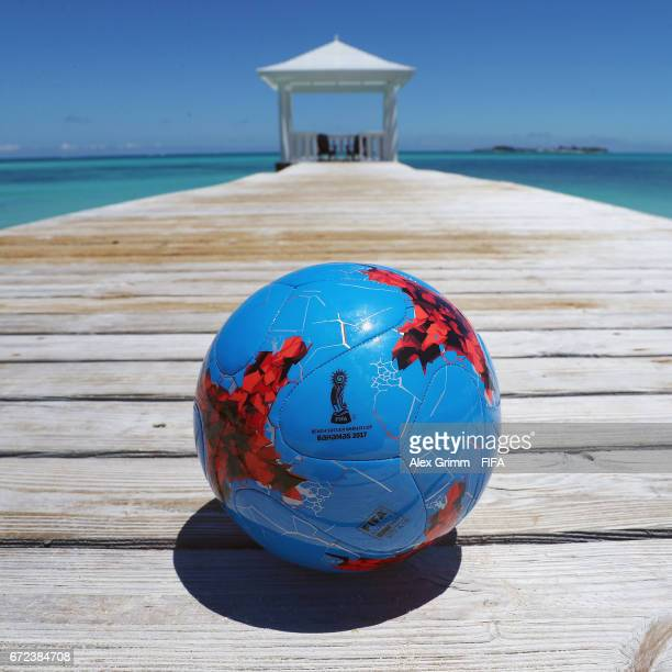 General view with the official match ball at Sandyport before the FIFA Beach Soccer World Cup Bahamas 2017 on April 24, 2017 in Nassau, Bahamas.