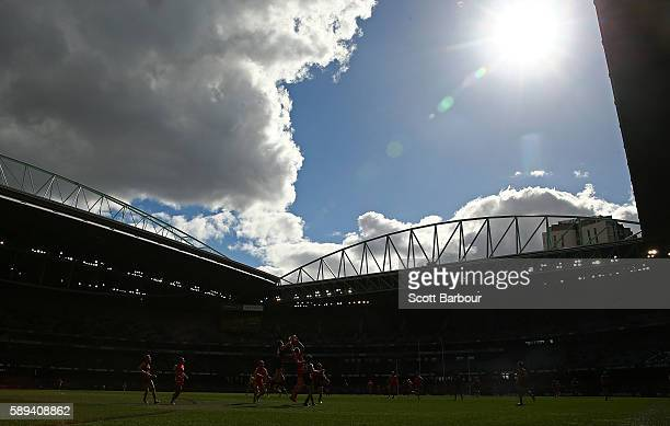 A general view with the roof open during the day during the round 21 AFL match between the Essendon Bombers and the Gold Coast Titans at Etihad...