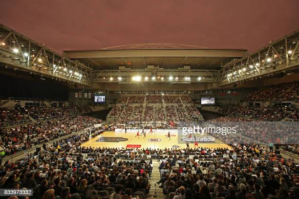 A general view with the roof open during the round 18 NBL match between Melbourne United and the Illawarra Hawks at Hisense Arena on February 6 2017...