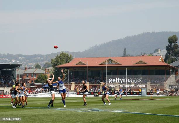 General viewduring the 2019 NAB AFLW Round 01 match between the North Melbourne Tasmanian Kangaroos and the Carlton Blues at North Hobart Oval on...