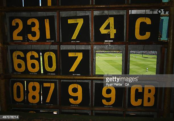 A general viewof play from inside the scoreboard during day two of the second Test match between Australia and New Zealand at WACA on November 14...