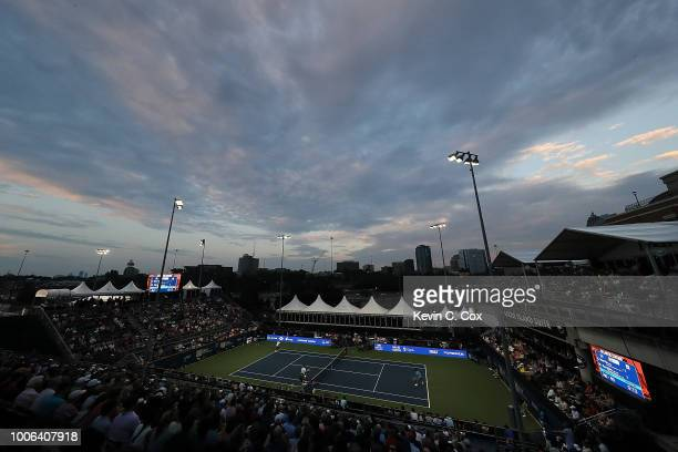 A general viewof stadium court in the match between Nick Kyrgios of Australia and Cameron Norrie of Great Britain during the BBT Atlanta Open at...