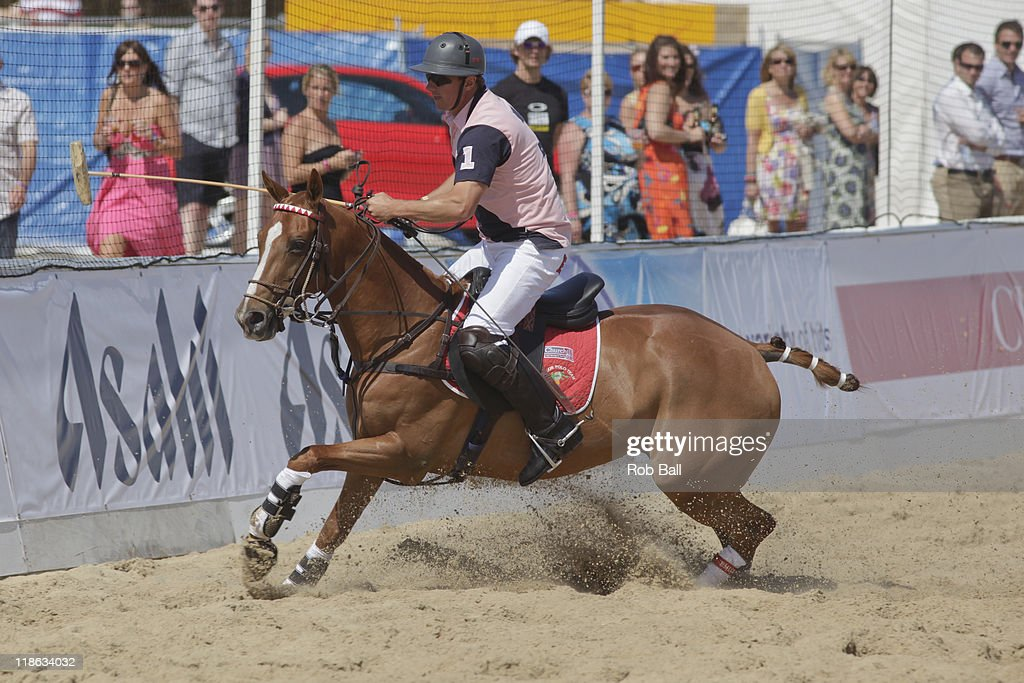 General views and polo players at the British Beach Polo Championships at Sandbanks Beach on July 9, 2011 in Poole, England.