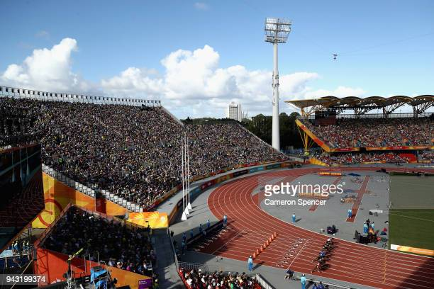 A general views as athletes compete at the start of the Men's 100 metres heats on day four of the Gold Coast 2018 Commonwealth Games at Carrara...