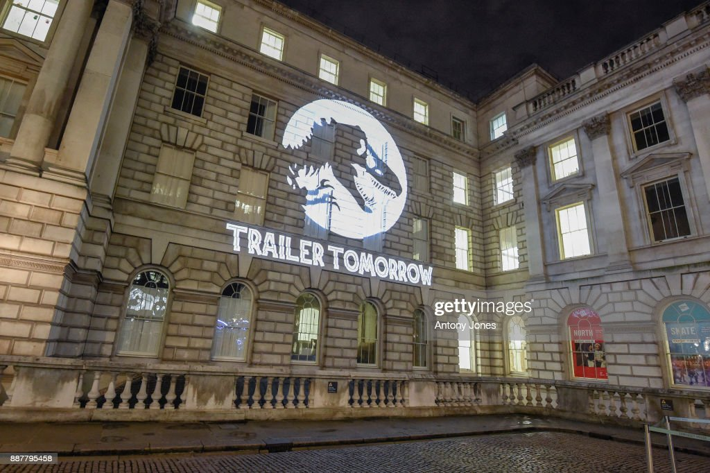 General Views as Universal Pictures project Jurassic World Fallen Kingdom logo for launch of first trailer on December 7, 2017 in London, United Kingdom.