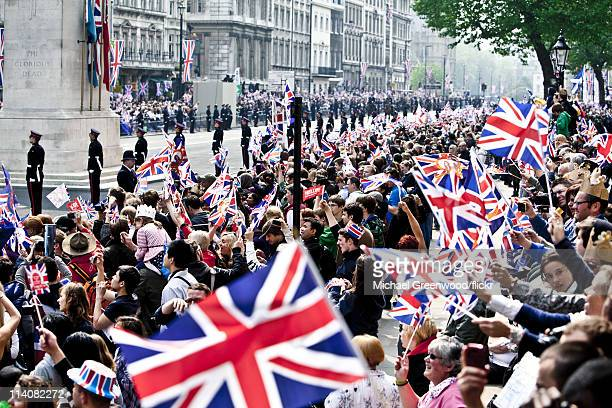 General views at Whitehall for the Royal Wedding of Prince William Duke of Cambridge and Catherine Duchess of Cambridge at Westminster Abbey on April...