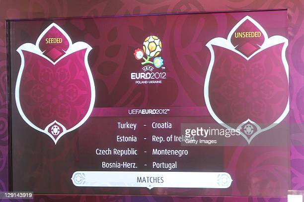 General views during the draw for the qualifying playoff matches for UEFA EURO 2012 on October 13 2011 in Krakow Poland