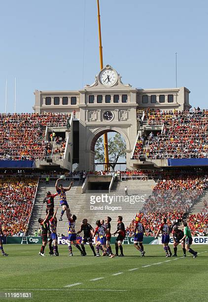 General views during the Heineken Cup quarter final match between Perpignan and Toulon at the Olympic Stadium on April 9 2011 in Barcelona Spain