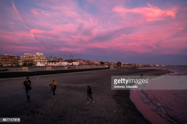 General views during the sunset of Ostia's waterfront suburb of Rome on October 28 2017 in Rome Italy Ostia's city hall was dissolved for mafia...