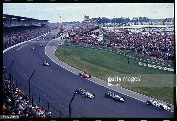 General views if the Indianapolis 500 mile race just after the start May 30th A downpour halted the race after 18 laps