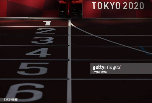 General views inside the Olympic Stadium, host to the Athletics competition, at the Tokyo Olympic Games on July 29, 2021 in Tokyo, Japan.