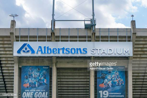 General views of Albertsons Stadium, home field of the Boise State Broncos on May 23, 2021 in Boise, Idaho.