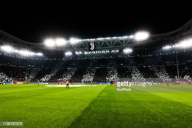 A general views of Allianz Stadium before the UEFA Champions League round of 16 second leg match between Club Atletico de Madrid and Juventus FC on...
