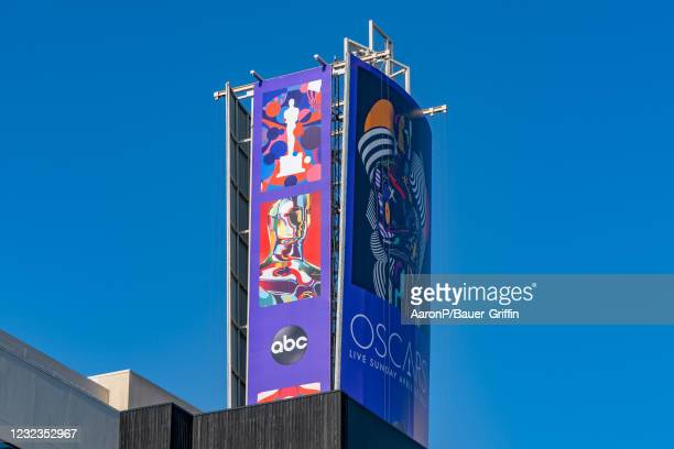 General views of an Oscars billboard at Hollywood and Highland, promoting the 93rd Annual Academy Awards to be aired on ABC on April 16, 2021 in...