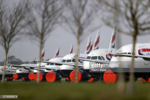 General views of British Airways planes grounded at Bournemouth Airport on March 28, 2020 in Bournemouth, England. The Coronavirus pandemic has...